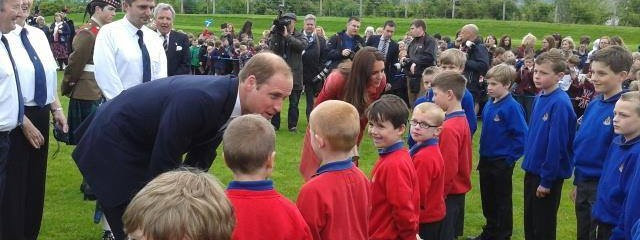Perth 3rd Boys' Brigade meeting the royal couple, the Earl and Countess of Strathearn
